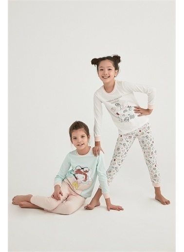 Penti Çok Renkli Kız Çocuk Camp Eentıal Ls 4Lü Pijama Takımı Renkli